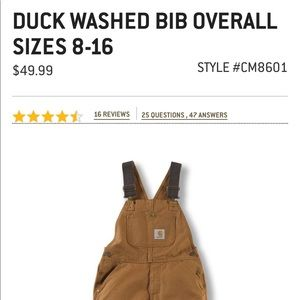 edf2722c191 Carhartt Other - NWT Carhartt Duck Washed Bibb Overall (boys)